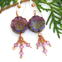 Purple Pansy Flower Handmade Earrings, Lavender Swarovski Crystal Spring Summer Dangle Jewelry