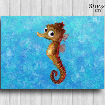 nursery print sea horse finding nemo wall art nautical home decor