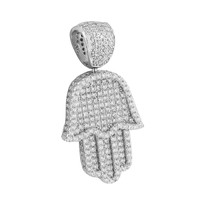 White Hamsa Hand Pendant Protection From Evil