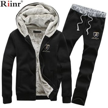 Riinr 2017 Fashion New Arrival Sporting Suit Men Autumn&Winter Casual Hoodies Two Piece Sets Men's Sportswear Sets Men tracksuit