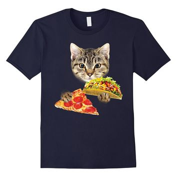 Cat eating taco and pizza shirt funny kitty by zany brainy