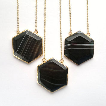 Black Agate Necklace Black Hexagon Pendant Black Prism Pendant Honey Comb Pendant Geometric Necklace Stone Necklace Gold Agate Sacred