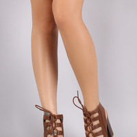 Bamboo Corset Lace-Up Chunky Stacked Heel