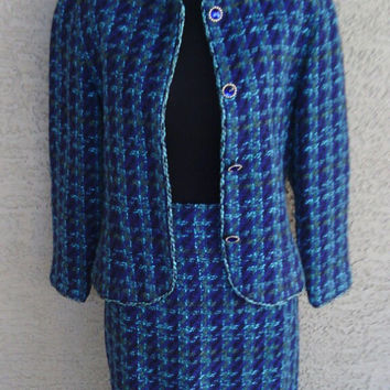 Vintage 80s Ann Taylor turquoise green blue woven suit pencil skirt jewel buttons size four Ann Taylor Studio