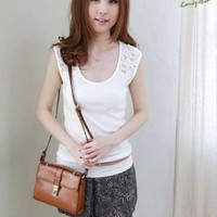 See-through Lace Splicing Tops Women Sleeveless Crew Neck Solid Leisure T-shirt