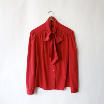 vintage secretary blouse / ruby red 70s ascot by racksabbath