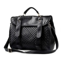 MG Collection VALORA Black Woven Buckle Closure Office Briefcase / Shoulder Bag