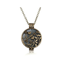 Steampunk Magic Round Locket - Glow in the Dark Pendant - Round Heart Flower