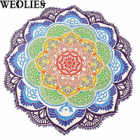 Beach Throw Towels Flowers Colorful Round Yoga Mat Indian Mandala Tapestry Picnic Blanket Shawl Mat Wall Hanging Home Rug Decor
