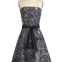 ModCloth Long Strapless A-line Spellbound To Astound Dress