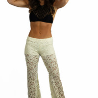 Vintage Havana Ivory Stretch Crochet Bell Bottom Pants