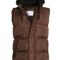 LE3NO Mens Down Puffer Vest Jacket with Detachable Hoodie (CLEARANCE)