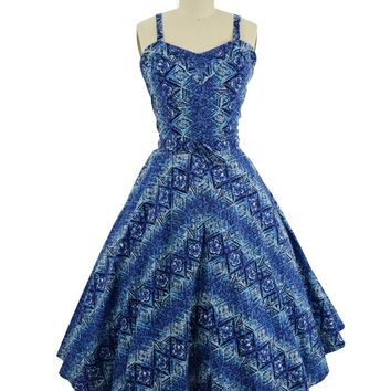 50s Blue Hawaiian Floral Tapa Print Swing Dress-M