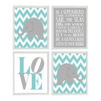Elephant Chevron Baby Boy Nursery Prints, and Gray Aqua Wall Art Love