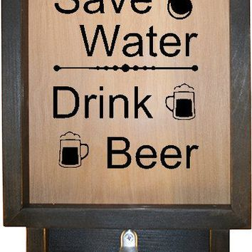 "Wooden Shadow Box Bottle Cap Holder with Bottle Opener 9""x15"" - Save Water Drink Beer"