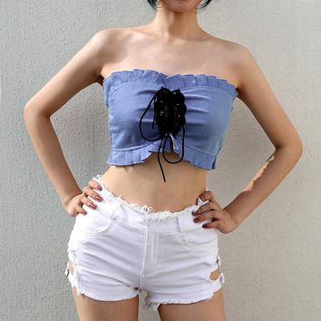 Fashion Denim Strappy Ruffle Wrap Chest Sleeveless Strapless Crop Tops