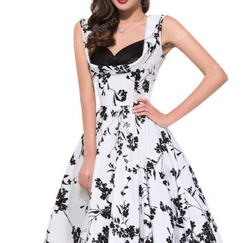 Vintage Dresses Rockabilly 50s 60s Floral Pattern Dresses 2017 vestidos Retro Sleeveless V-Neck Cotton Party Women Summer Dress