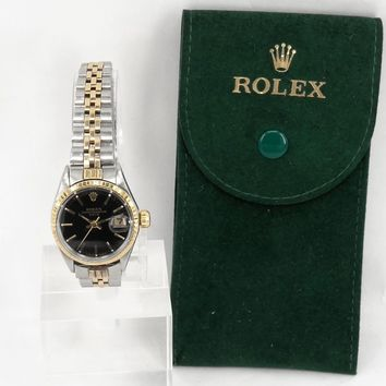 Genuine Rolex Oyster Perpetual Date Women Self-winding Automatic Wristwatch