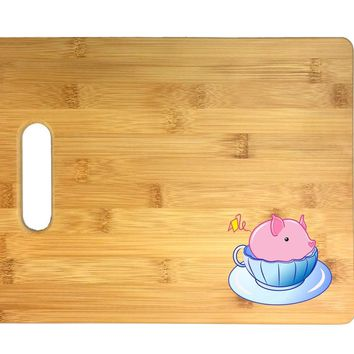 Teacup Pig In A Blue Teacup Cute And Adorable 3D COLOR Printed Bamboo Cutting Board - Wedding, Housewarming, Anniversary, Birthday, Mother's Day, Gift