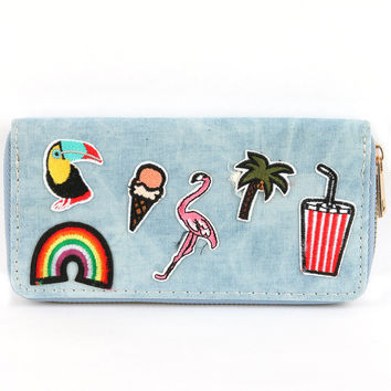 Toucan Rainbow Patch Denim Wallet