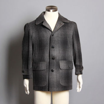 40s Men's Wool HUNTING JACKET / Black & Grey Shadow Plaid COAT, m - l