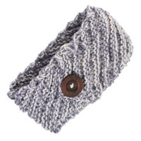 Gray and Ivory Knit Head Wrap