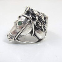 Vintage Sterling Horse Head Ring Emerald Eye, Figural Equestrian Horse Jewelry, Men Women Unisex Horse 3D Statement Ring, Size 9 12.3 Grams