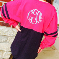 Spirit  Shirt Fuchsia/Charcoal Monogram Personalized  Font Shown MASTER CIRCLE in light pool