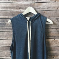 Charlie Tie Hooded Tank (Navy)