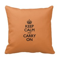 Coral Rose Keep Calm And Carry On Throw Pillow