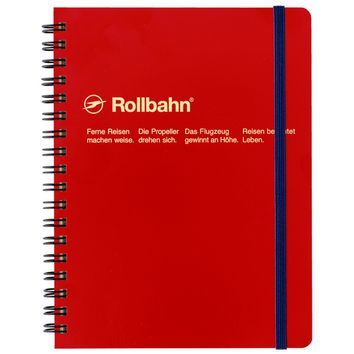 """Rollbahn Notebook Red Small 4.25 x 5.5"""" Or Large 5.5 x 7"""""""