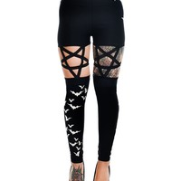 Dark Night Goth Emo Inverted Pentagram Cut Out & Flying Bats Leggings