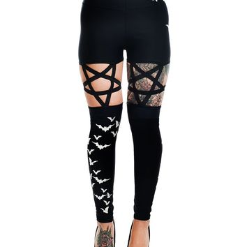 Rat Baby Pentagram Leggings Flying Bats High Waist Wiccan Gothic Punk Rock
