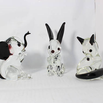 Vintage Blown Clear Glass Animals Figurines With Amethyst Accent  Fox Elephants Rabbit Paperweights