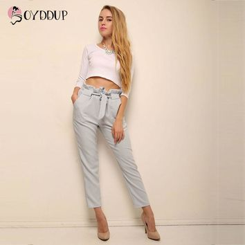 2017 Women OL chiffon high waist harem pants bow tie drawstring sweet elastic waist pockets casual trousers pantalones