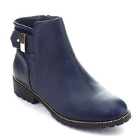 DBDK KATHIE-1 Women's Buckle Strap Chunky Heel Side Zipper Ankle Booties, Color:NAVY, Size:9