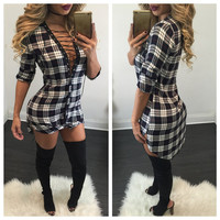 Sexy Lace Up Plaid Shirt Long Sleeve Short Bodycon Dress