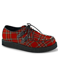 Demonia Red Plaid Spiked Creeper