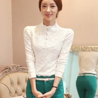 Lotus Leaf Collar Buttoned Long Sleeve Lace Blouse in Black or White