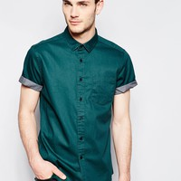 ASOS Twill Shirt in Short Sleeve with Pigment Print