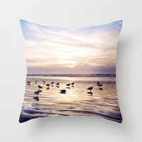 dusk on the beach Throw Pillow by sylviacookphotography