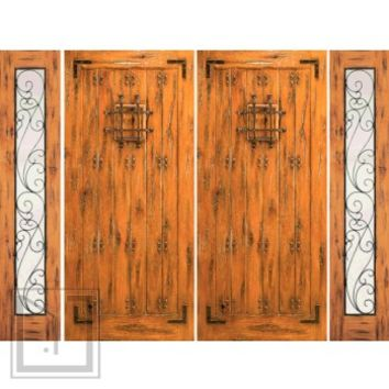 Prehung Double Door with Two Sidelites, Entry, Alder with Speakeasy