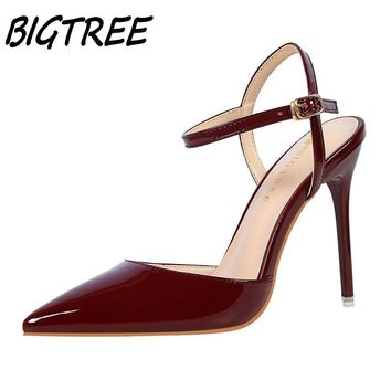 BIGTREE women Pointed Toe High heels shoes woman shallow slingback pumps ladies Buckle Strap Party Wedding stilettos shoes