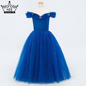 Royal Blue Sequined Tulle Flower Girl Dresses Sleeveless Off Shoulder Girls Pageant Dresses Kids Evening Gowns 2017 Serene Hill