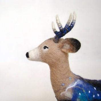 Hemming - Felt White Tailed Deer. Art Puppet, Marionette, Stuffed Animal, Felted Toy. beige, cream, brown, blue, indigo. MADE TO ORDER