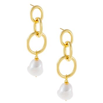 Triple Link X Pearl Drop Earring