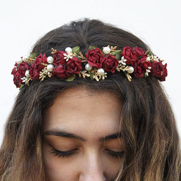 Burgundy Red Rose and Pearl Flower Crown, Valentines Day Flower Crown, Rose Headband, Rose Crown, Marsala Red, Oxblood, Hair Accessory