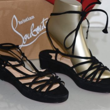NEW Christian Louboutin Wedge Strappy Flat Sandals Black Suede Shoes 38