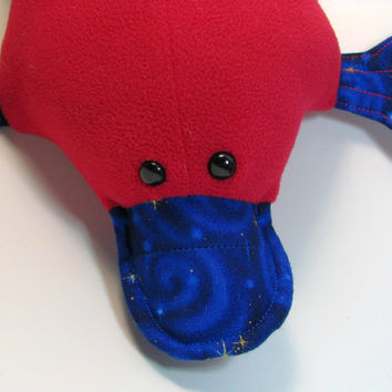 Percy Platypus, red, blue, celestial, fleece, quilted, webfoot