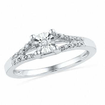 Diamond Accent Split Shank Promise Ring in 10K White Gold|Zales